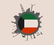 Circle with industry relative silhouettes. Kuwait flag Royalty Free Stock Photos