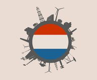 Circle with industry relative silhouettes. Netherlands flag Stock Photos