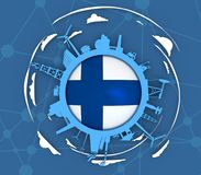 Circle with industry relative silhouettes. Objects located around the circle. Industrial design background. Flag of the Finland in the center. 3D rendering Royalty Free Stock Image
