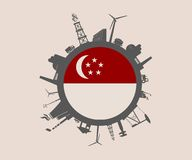 Circle with industry relative silhouettes. Singapore flag Stock Photos