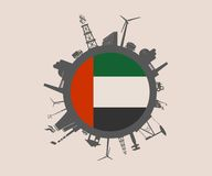 Circle with industry relative silhouettes. United Arab Emirates flag Stock Photo