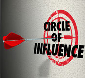 Circle of Influence Target Words Spreading Message Contacts Frie Royalty Free Stock Image