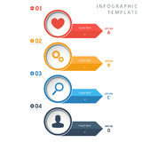 Circle info graphic template with icons on white background. Circle info graphic template with color icons on white background Stock Photo