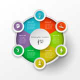 Circle infographic concept. Abstract business circle infographic concept with 8 options. Can be used for workflow layout, parts, steps or processes, banner Stock Images