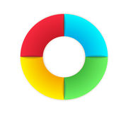 Circle infographic. Divided into four parts with different color Stock Images