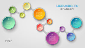 Circle infographic. Modern vector circle and line infographic elements in bright colors