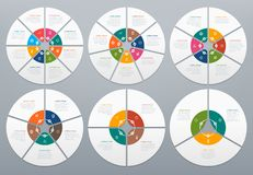 Circle infographic. Round diagram of process steps, circular chart with arrow. Circles and arrows graph charts vector