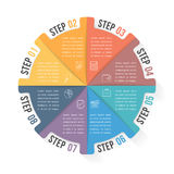 Circle Infographic Template with Eight Elements. Steps or options, workflow or process diagram Royalty Free Stock Photos