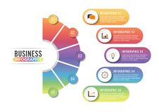 Circle infographic template five option, process or step for business presentation. Circle infographics template five option, process or step for business Stock Photography