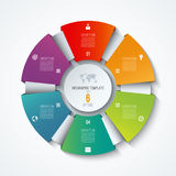 Circle infographic template. Process wheel. Vector pie chart. Business concept with 6 options. Parts, steps. Can be used for diagram, graph, chart, step by Royalty Free Stock Image