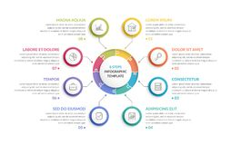 Circle Infographics - Eight Elements. Circle infographic template with round puzzle with eight steps or options, process chart, creative business infographics Stock Photo