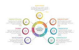 Circle Infographics - Seven Elements. Circle infographic template with round puzzle with seven steps or options, process chart, creative business infographics Royalty Free Stock Photography