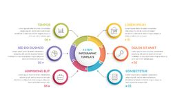 Circle Infographics - Six Elements. Circle infographic template with round puzzle with six steps or options, process chart, creative business infographics Royalty Free Stock Images
