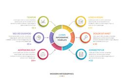 Circle Infographics - Six Elements. Circle infographic template with six steps or options, process chart, creative business infographics Stock Images
