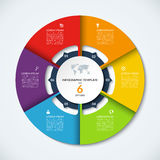 Circle infographic template. Vector layout with 6 options Stock Photography