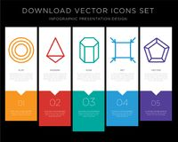 Circle infographics design icon vector. 5 vector icons such as Circle, Tetrahedron, Cylinder, Fit, Pentagon for infographic, layout, annual report, pixel perfect Stock Photo