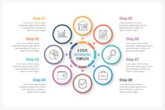 Circle Infographics with Eight Elements. Circle infographics template with eight elements, can be used as process diagram, steps, options Royalty Free Stock Image