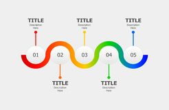 Circle infographics for five steps process or progression. Timeline workflow layout vector design royalty free illustration