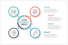 Circle Infographics with Four Elements. Circle infographics template with four elements, can be used as process diagram, steps, options Royalty Free Stock Photos