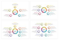Circle Infographics. Circle infographic templates with round puzzle with five, six, seven and eight steps or options, process chart, creative business Stock Photo