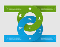 Circle infographics. Modern business options banner, two circle infographics, can be used for diagram, circle cutout lines, step up options, illustration Royalty Free Stock Photo