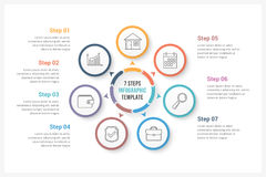 Circle Infographics with Seven Elements. Circle infographics template with seven elements, can be used as process diagram, steps, options Royalty Free Stock Photo