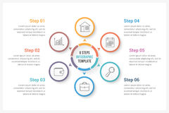 Circle Infographics with Six Elements. Circle infographics template with six elements, can be used as process diagram, steps, options Stock Images