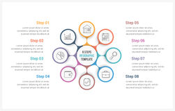 Circle Infographics Template with Eight Elements. Can be used as process diagram, steps, options Royalty Free Stock Photography