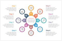 Circle Infographics Template with Eight Elements. Can be used as process diagram, steps, options Royalty Free Stock Photos