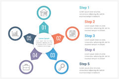 Circle Infographics Template with Five Elements. Can be used as process diagram, steps, options Stock Photo