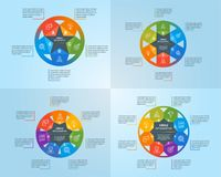 Circle infographics template set. Modern design concepts with 5, 6, 7 and 8 options. Business template for process visualization. Vector infographic Royalty Free Stock Image