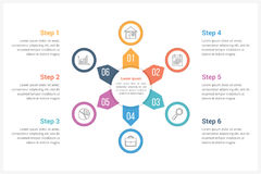 Circle Infographics Template with Six Elements. Can be used as process diagram, steps, options Stock Photography