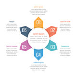 Circle Infographics Template with Six Elements. Can be used as steps, options, process diagram Royalty Free Stock Images