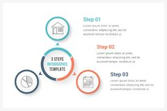 Circle Infographics with Three Elements. Circle infographics template with three elements, can be used as process diagram, steps, options Royalty Free Stock Image