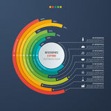 Circle informative infographic design with 8 options on dark bac. Kground. Vector illustration Royalty Free Stock Photo