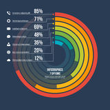Circle informative infographic template 7 options on dark backgr. Ound. Vector illustration Royalty Free Stock Photography
