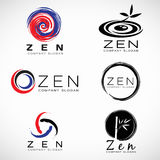 Circle ink and bamboo leaf for Zen business and spa logo vector set design Stock Photo