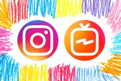 Circle Instagram and Instagram TV IGTV icons royalty free illustration