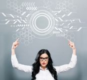 Circle Interface with business woman pointing upwards stock images