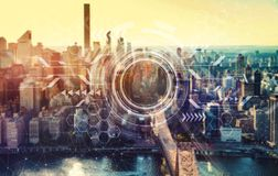 Circle interface with New York City royalty free stock images