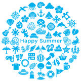 Circle with Japanese summer icons. stock illustration
