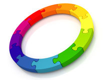 Circle of jigsaw pieces. A circle containing 12 colored jigsaw pieces isolated from a white background royalty free illustration