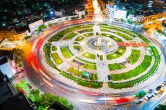 Circle junction traffic road with car light movement Royalty Free Stock Photo