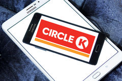 Circle K stores logo. Logo of the international chain of convenience stores Circle K on samsung mobile on samsung tablet Royalty Free Stock Images