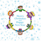 Circle kids winter frame, round Christmas background with children and snow Stock Photography