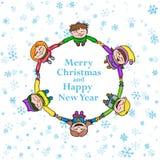 Circle kids winter frame, round Christmas background with children and snow. Round Christmas background with children and snow Stock Photography