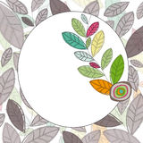Circle Label with colored leaves Stock Image