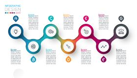 Circle label infographic with step by steps royalty free stock photography