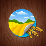 Circle Label with Yellow Fields and Wheat Ears Stock Photo