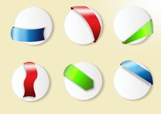 Circle labels, buttons. Set of white 3d circle buttons with coloured tags Royalty Free Stock Photos